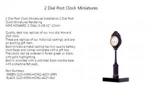 2 Dial Post Clock Miniatures