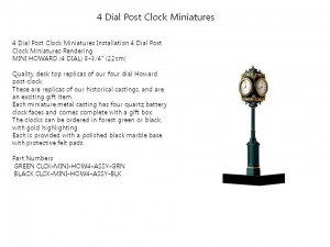 4 Dial Post Clock Miniatures