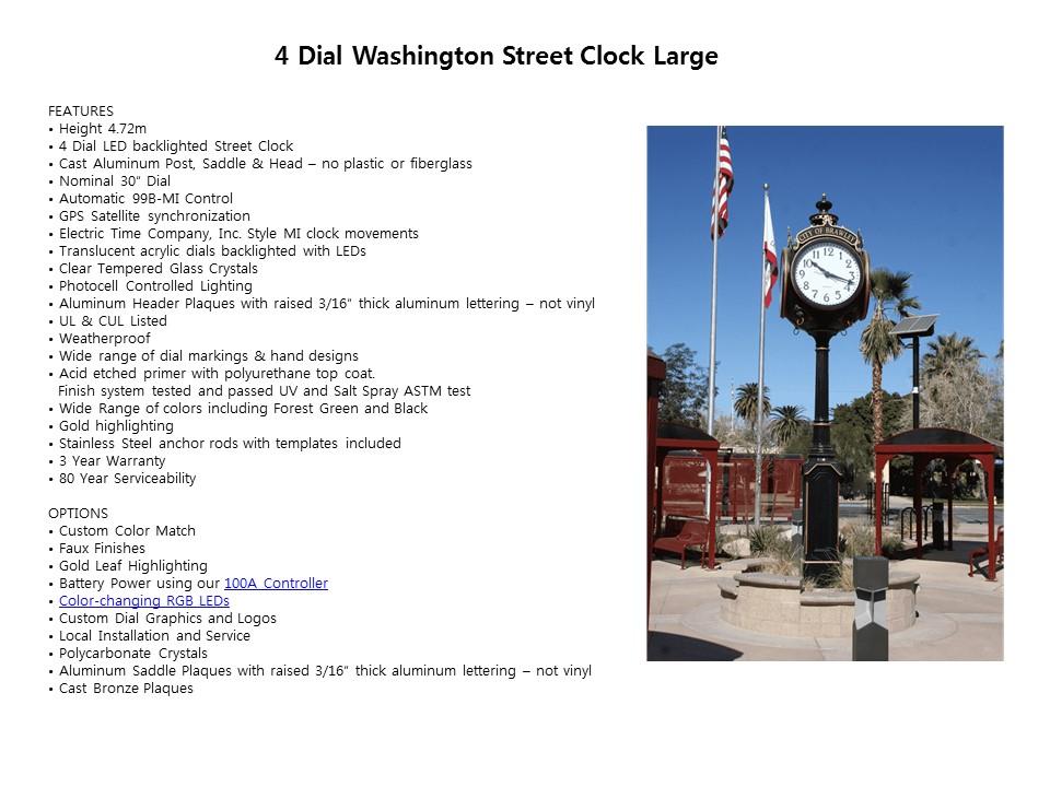 4 Dial Washington Street Clock Large